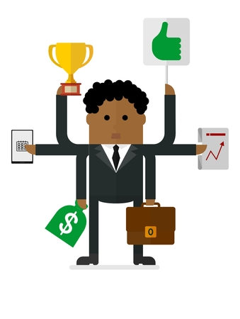 multitask: Multitasking african-American businessman. Many hands holding cup, suitcase,money bag, laptop, plan.Conceptual vector image of businessman character.Cartoon flat vector illustration. Objects isolated.