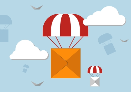 depository: Large box fly on a parachute in the sky. Concept for delivery service.Flat design colored vector illustration.
