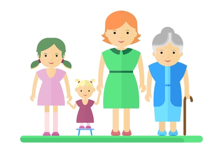 harmonious: Big happy harmonious family. Mother, daughter, granddaughter, grandmother Objects isolated on a white background. Flat vector illustration.