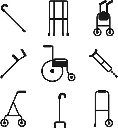 Breed scala van wandelaars voor patiënten te gebruiken om hen te helpen met hun mobiliteit Stock Illustratie