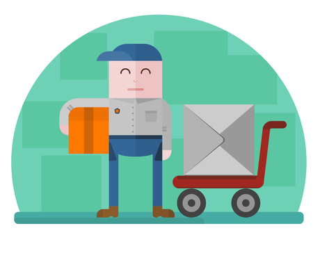 depository: Delivery man holding a box with a hand truck on the background. Concept for delivery service.Flat design colored vector illustration.