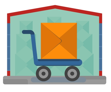 depository: Delivery hand truck. Concept for delivery service.Flat design colored vector illustration.