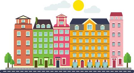 case colorate: Cartoon vettoriali set di case colorate