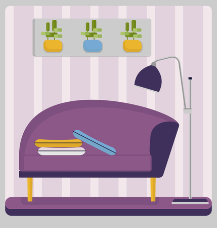 small room: Purple couch in a small room. Home living room interior with comfortable furniture.?ozy  light room with bright furniture Cartoon Vector illustration.
