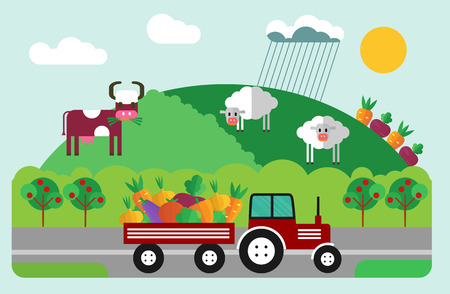 crops: Process of growing and harvesting crops. Illustration