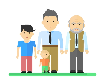 Big happy harmonious family.Father, son, grandson, grandfather Objects isolated on a white background. Flat vector illustration.