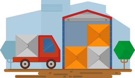 depository: Red van stands near warehouse. Concept for delivery service.Flat design colored vector illustration. Illustration