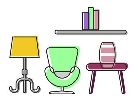 modern interior: Modern home living room interior with comfortable furniture.Cartoon Vector illustration.