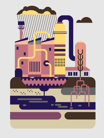 polluted cities: Flat design vector illustration concept of nature pollution