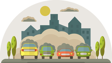 Cars pollute the environment. Smoke from cars covers the house and the sky. Vector flat illustration.