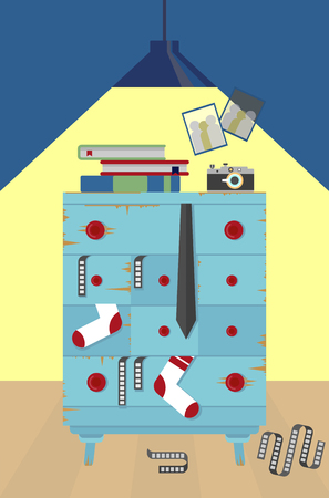 apartment living: Furniture in the apartment of the photographer. Home living room interior with comfortable furniture. Old shabby chest of drawers which fall out of things.Cartoon Vector illustration.