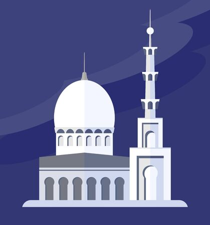 evening sky: White Islamic Mosque against the evening sky. Objects isolated on a white background. Flat vector illustration.