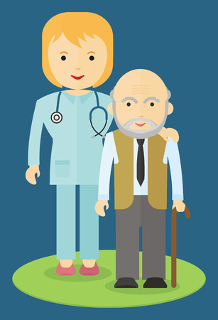 musculoskeletal: Doctor helping an elderly man to walk. Caring for the elderly. The support and cooperation. Respect for old age.