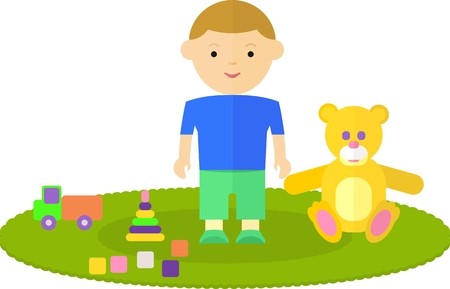 playpen: Little boy in the childrens room. The child is on the floor. Around the boys are his favorite toys: a bear, machine, pyramids, cubes. On the floor of the room is the carpet. Objects isolated on a white background. Flat vector illustration. Illustration