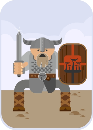 expected: Angry Viking sword with a sharp attack expected. Objects isolated on a white background. Flat vector illustration.
