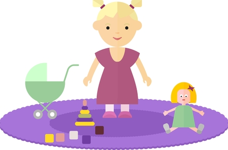 playpen: Little girl in the childrens room. The child is on the floor. Around the girls are her favorite toy bear, doll, pyramid, cubes. On the floor of the room lay a carpet. Objects isolated on a white background. Flat vector illustration.