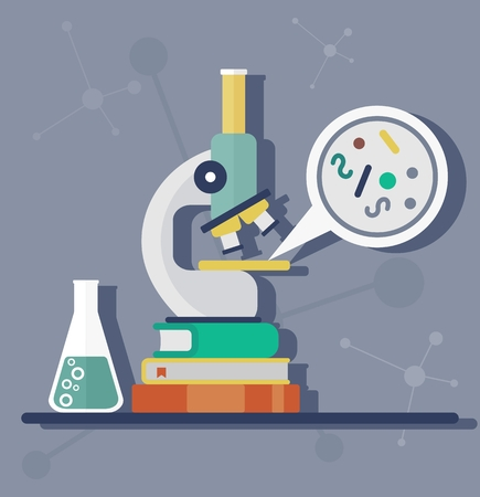 simplest: Microscope in the laboratory on a pile of books.Study of the simplest organisms. Objects isolated on background. Flat vector illustration.