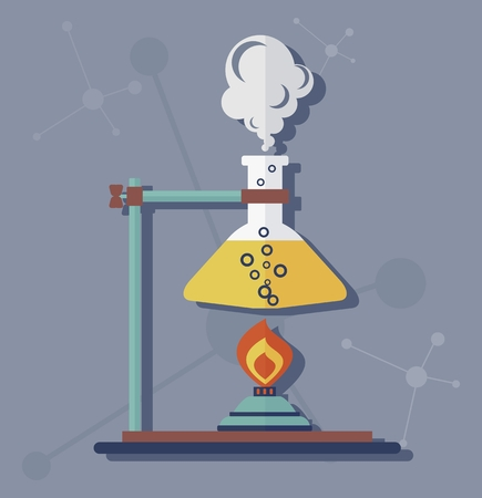 carrying out: Chemical flask was heated over a fire. The equipment for carrying out experiments.Cartoon flat vector illustration.