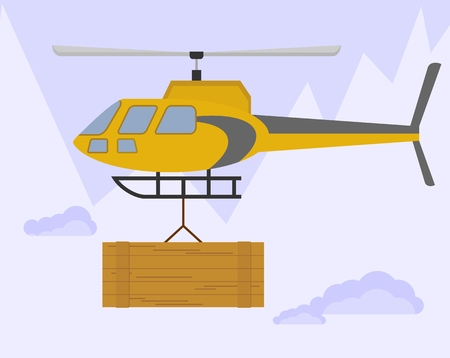 helicopter rescue: Yellow helicopter carries cargo. Flying over the mountains with a large wooden box. Rescue mission to assist climbers. An avalanche in the mountains. Cartoon flat vector illustration.