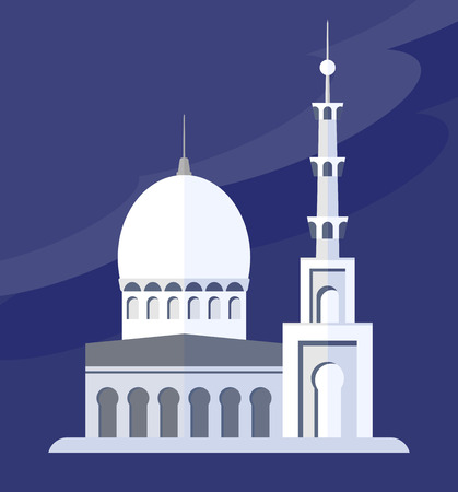 religious celebration: White Islamic Mosque against the evening sky. Objects isolated on a white background. Flat vector illustration.