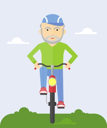 pleased: An elderly man riding a bicycle. Cycling in the park. Grandpa pleased and happy.Cartoon flat vector illustration.