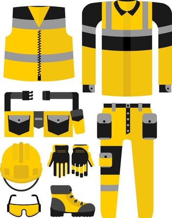 office wear: Vector set of work clothes. Objects for protection while working in the industry.Cartoon flat vector illustration.Cartoon flat vector illustration.