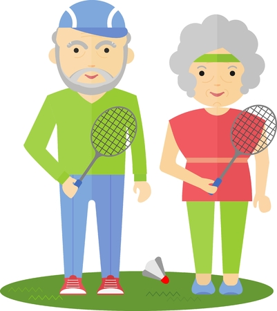 senior exercise: Seniors couple playing badminton over the net. Competitions in the park. Exercise outdoors in the park. Cartoon flat vector illustration.