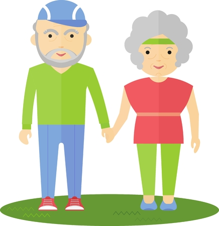 senior exercise: Seniors couple strolling through the park. They hold hands. Grandma and Grandpa smile. They are cheerful and happy.Cartoon flat vector illustration. Illustration