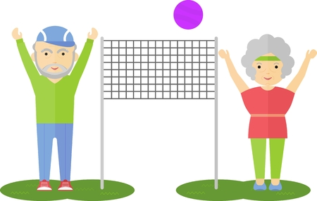 senior exercise: A couple of elderly people playing volleyball. Competition in volleyball in the park. Exercise in the open air park. Cartoon flat vector illustration.
