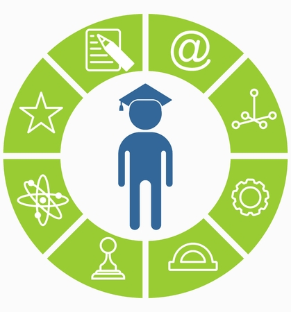 educations: Concept educations icons. Leadership and underachievers concept. Flat vector illustration.