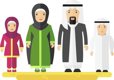 アラビア家族の男性女性子供。オブジェクトを白い背景に分離します。フラットのベクター イラストです。