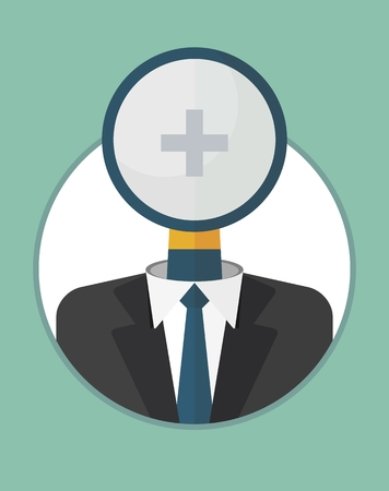 closely: Head, manager closely watches the team.The character of the CEO. Business People icons. Faces avatars. Flat style vector icons set Illustration