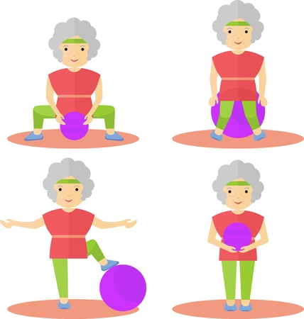 Elderly woman doing fitness. Exercises with a big ball. Classes at the gym or in the park.Cartoon flat vector illustration. Vektorové ilustrace