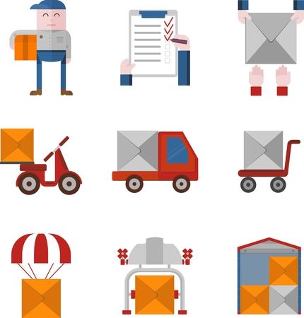 depository: Objects for delivery service. Flat design colored vector illustration.