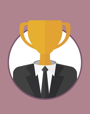 tends: The head tends to win.The character of the CEO. Business People icons. Faces avatars. Flat style vector icons set
