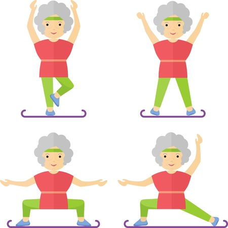 An elderly woman practices yoga. Exercises for the body. The legs and arms. Classes at the gym or in the park.Cartoon flat vector illustration. Vektorové ilustrace