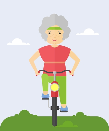 An elderly woman rides a bicycle. Cycling in the park. Grandma happy and cheerful.Cartoon flat vector illustration.