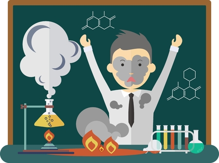 reagents: A bad chemistry experiment. Pour the liquid from the bulb. Exploded reagents. The scientist was frightened and angry. Dirty clothes and face. Cartoon flat vector illustration. Illustration