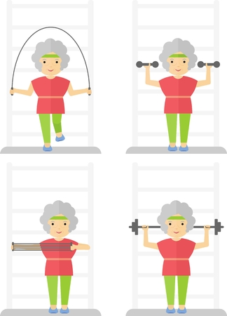 senior exercise: An elderly women is engaged in gymnastics. Exercises with exercise equipment in the gym.Cartoon flat vector illustration.