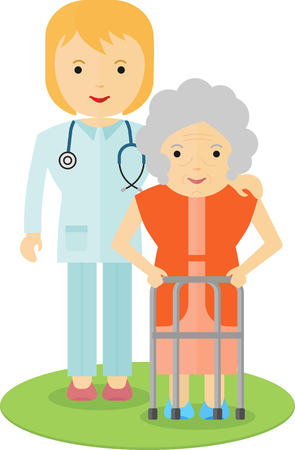 Doctor helping an elderly woman to walk. Caring for the elderly. The support and cooperation. Respect for old age.