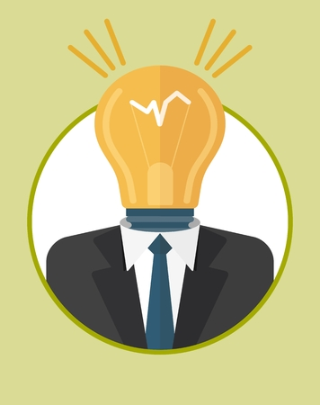 Head, manager generates ideas. The character of the CEO. Business People icons. Faces avatars. Flat style vector icons set Illustration