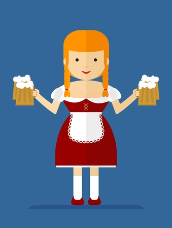 bavarian girl: Beautiful bavarian girl with blond hair holding a mug of beer. Cartoon flat vector illustration.