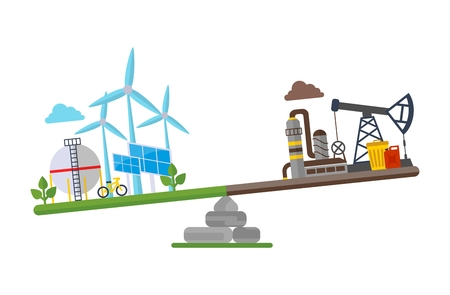 Oil plant and the planet earth on scales.Cartoon flat vector illustration. Objects isolated on a background.
