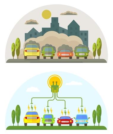? Onceptual imagen de una energía verde y contaminan los coches. ilustración vectorial de dibujos animados plana. Los objetos aislados sobre un fondo.
