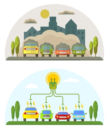 ?onceptual image of a green energy and pollute cars. Cartoon flat vector illustration. Objects isolated on a background.