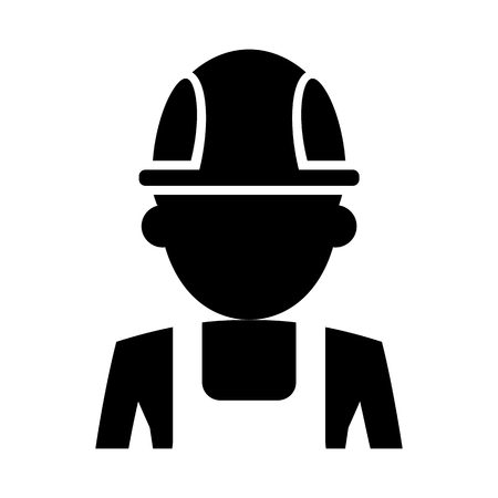 industrial safety: Worker silhouette icon. Cartoon flat vector illustration. Objects isolated on a background.