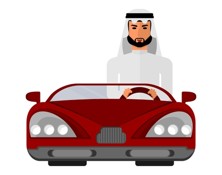sheik: Arabic man in national costume. Muslim Islamic traditions. A businessman in an expensive red car. Cartoon characters icon stylish background.Cartoon design flat vector illustration