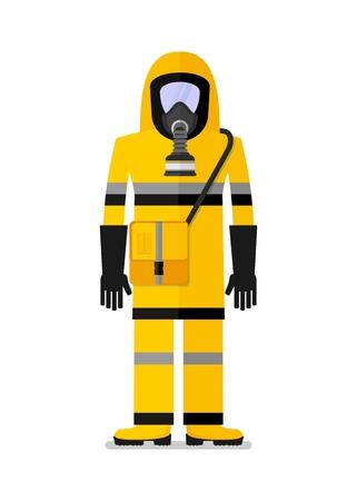 化学保護のため作業服を着た男。フラットのベクトル図を漫画します。オブジェクトの背景に分離されました。