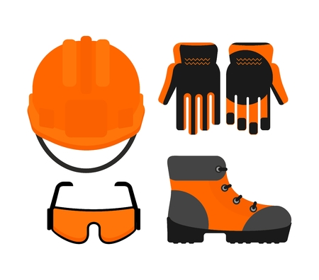 respiratory protection: Set of protectiv work wear. Cartoon flat vector illustration. Objects isolated on a background.