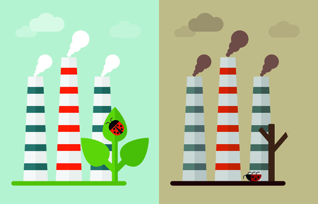 toxic waste: Building industrial plants polluting the environment. Toxic waste from oil extraction. Ecology design concept with air, water and soil pollution. Flat icons isolated vector illustration.